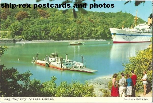 King Harry Ferry (1951) & troopship NEVASA, postcard